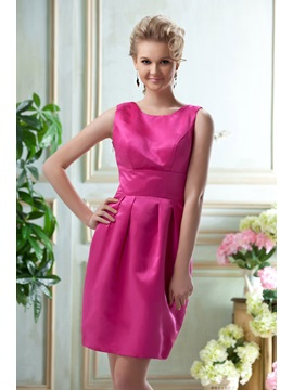 Graceful A Line Bateau Neckline Knee Length Bridesmaid Dress