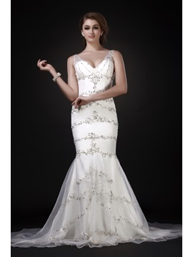 Fabulous V Neck Court Trumpet Mermaid Embroidery Roxys Wedding Dress