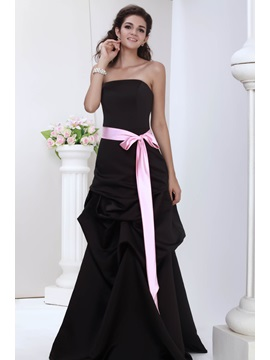 Julianas Elegant A Line Strapless Ruched Sash Bridesmaid Dress