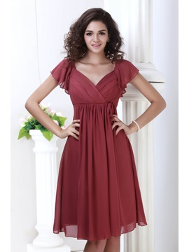 Cheap V Neck Cap Sleeves Knee Length Julianas Bridesmaid Dress