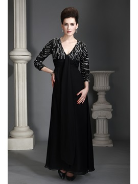Charming A Line V Neckline 3 4 Sleeves Ankle Length Alexs Mother Of The Bride Dress