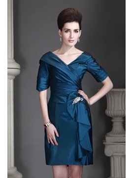Elegant Sheath Column V Neck Short Sleeves Knee Length Alexs Mother Of The Bride Dress
