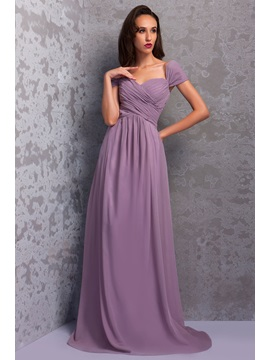 Graceful Pleats A Line Floor Length Cap Sleeves Renatas Bridesmaid Dress