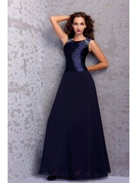 Draped Beading A Line Short Sleeves Floor Length Round Neckline Miriamas Mother Of The Bride Dress