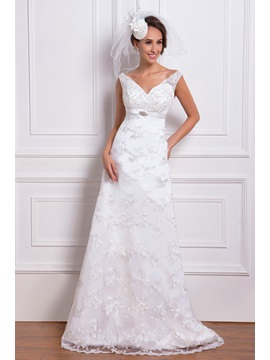 Amazing Lace Column V Neck Chapel Train Renatas Wedding Dress