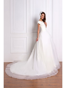 Luxurious Appliques Princess Square Short Sleeve Chapel Renatas Wedding Dress