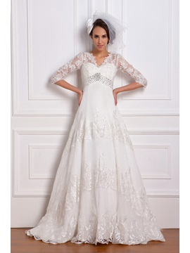 Empire Waist Appliques Wedding Dress With Sleeve