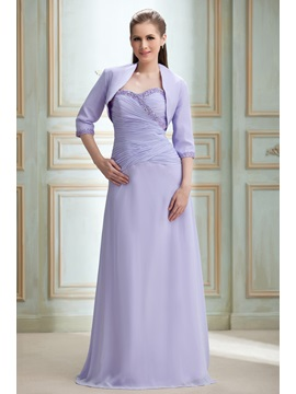 Elegant Sweetheart Ruched Sequins Beading Floor Length Nadyas Bridesmaid Dress With Jacket Shawl
