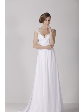 Elegant Empire V Neck Sweep Train Capped Sleeve Alicjas Wedding Dress