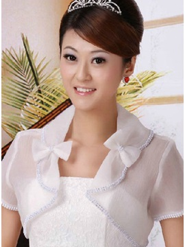 Pretty White Transparent Short Sleeve Wedding Jacket With Bowknot