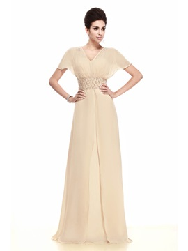 Elegant Sheath Column Short Sleeves Floor Length Talines Mother Of The Bride Dress