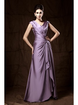 Attractive Pleats Column V Neck Floor Length Mother Of The Bride Dress