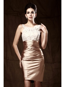 Glittering Sheath Scoop Neckline Lace Short Talines Mother Of The Bride Dress