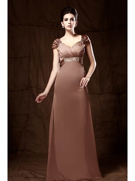 Elegant Column Cap Sleeves Sequins Pleats Talines Mother Of The Bride Dress