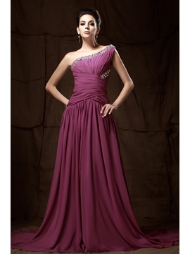 Graceful One Shoulder Beading A Line Long Talines Mother Of The Bride Dress