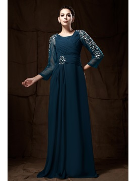 Attractive Beaded Sequins Sheath Column Scoop Neckline 3 4 Sleeves Floor Length Talines Mother Of The Bride Dress