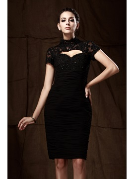 Lace Sheath Column High Neck Short Sleeves Knee Length Talines Mother Of The Bride Dress