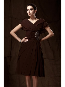 Attractive Caystal Floral Pin A Line Knee Length V Neck Talines Mother Of The Bride Dress