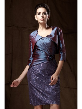 Delicated Lace Flower Sheath Knee Length Strapless Talines Mother Of The Bride Dress With Jacket Shawl