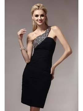Cool Sheath One Shoulder Knee Length Beading Ruched Dashas Party Cocktail Dress