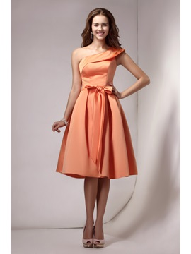 A Line Sashes One Shoulder Homecoming Dress