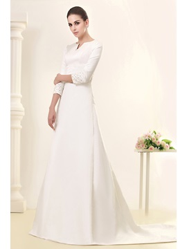 Glorious A Line 3 4 Length Sleeve Bateau Chapel Talines Wedding Dress