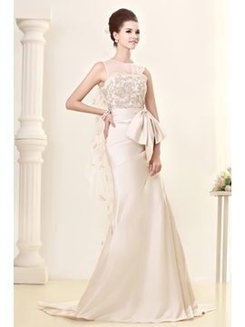Gorgeous Bateau A Line Floor Length Chapel Appliques Sandras Wedding Dress