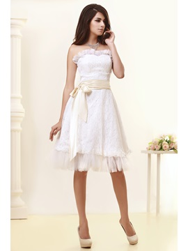 Airy A Line Sweatheart Knee Length Sashes Talines Wedding Dress
