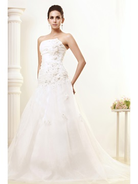 Cheap Elegant Strapless Floor Length Flowers Talines Wedding Dress