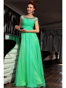 Charming A Line Beading Ruched Short Sleeves Floor Length Evening Dress