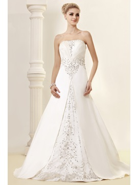 Glorious A Line Strapless Chapel Appliques Dashas Wedding Dress