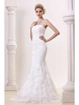Glorious Strapless Lace Trumpet Mermaid Chapel Dashas Wedding Dress With Jacket Shawl