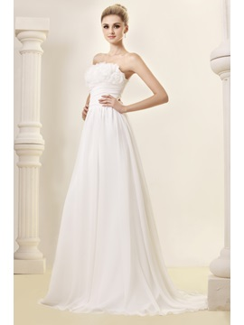 Delightful Empire Flowers Strapless Chapel Dashas Wedding Dress