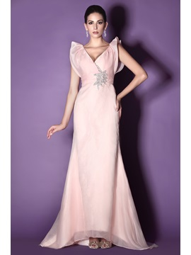 Beaded Ruffles Trumpet Mermaid V Neck Sweep Train Talines Mother Of The Bride Dress
