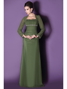 Modest Long Sleeves Sheath Square Neckline Sequins Floor Length Talines Mother Of The Bride Dress