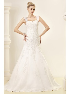 Fantastic Straps Mermaid Floor Length Chapel Appliques Dashas Wedding Dress