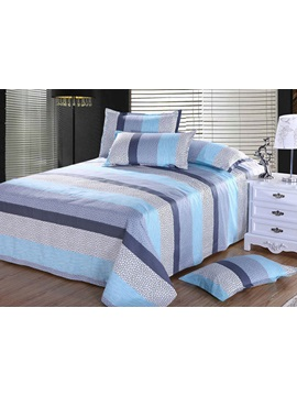 Popularable Blue Irregular Circle Stripe Cotton Sheet