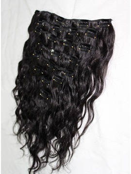 Top Quality Custom Wavy Clip In Human Hair For Full Head