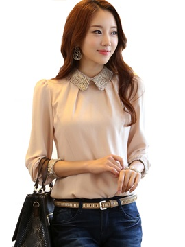 OL Style Fashion Slim Doll Collar Work Shirt