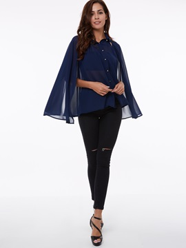 Unique Two Wearing Ways Caped Blouse