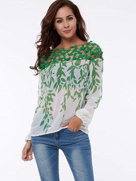 Boat Neck Off The Shoulder Hollow Lace Women's Blouse