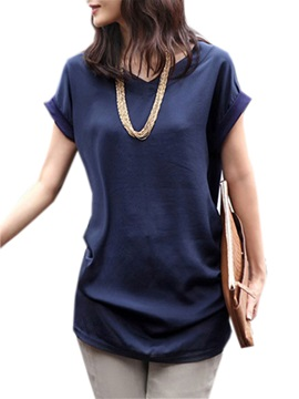 Solid Color Short Sleeve Loose Women's T-shirt