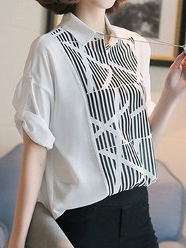 Special Stripe Pattern Roll-up Sleeves Shirt