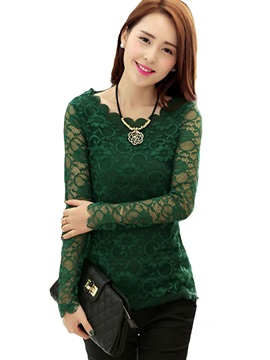 Plain Lace Mesh Long Sleeve T-Shirt