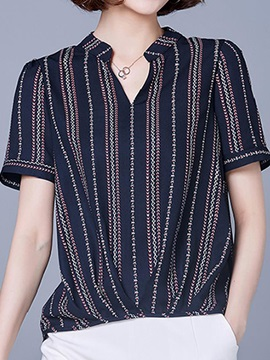 Chic Collar Special Stripe Short Blouse