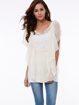 Chiffon Crimped Alabaster Short Sleeve Blouse