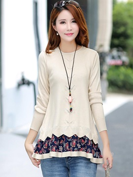 Stylish Printed Double-Layer Blouse