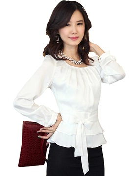 Stylish Plain Bowknot Chiffon Blouse