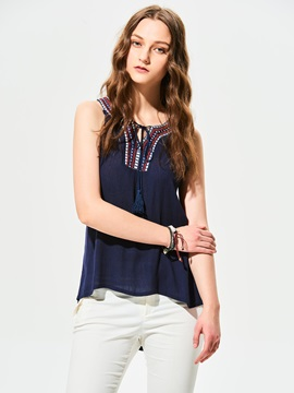Stylish Plain Slim Embroidery Tank Top