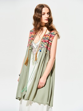 Stylish Tassel Embroidery Patchwork Tank Top